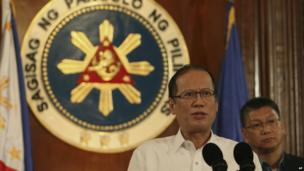 Philippine President Benigno Aquino III speaks about Typhoon Haiyan during a nationally televised address at the Malacanang palace in Manila, Philippines on 7 November 2013