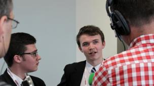 David (left) and Eoghan from St Columb's College being interviewed by BBC Radio Ulster's Mark Patterson.