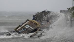 Building on coast damaged as Typhoon Haiyan strikes