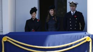 Countess of Wessex (L), Catherine, The Duchess of Cambridge (C) and Vice Admiral Timothy Laurence