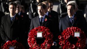 Labour Leader Ed Miliband, Deputy Prime Minister Nick Clegg and Prime Minister David Cameron