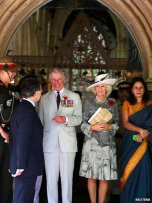 Prince of Wales and Duchess of Cornwall after Remembrance service in Mumbai