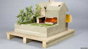 Concrete and wood dolls house