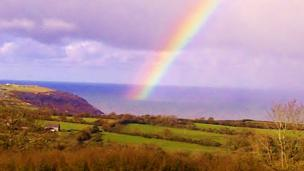 Rainbow at Tresaith Bay, Ceredigion