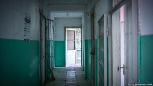 The corridor of a small clinic in Plavi, Georgia