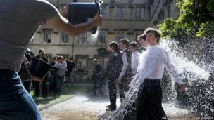 Students celebrating completion of exams, Oxford