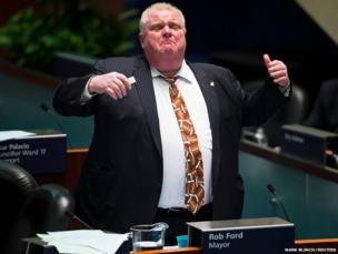Toronto Mayor Rob Ford speaks during council at City Hall