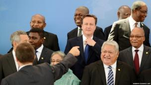 Britain's Prime Minister David Cameron amidst Commonwealth Heads of Government at the Chogm summit in Colombo