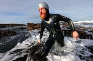 Sean Conway in John O'Groats