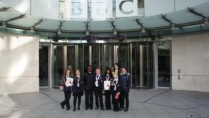 School Reporters Parmis, Tilly, Sinthiya, Chelsea, Daniel, Aaron, Ryan and Jess from Northwood School.