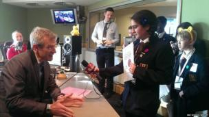 Jeremy Vine being interviewed by Parmis and Tilly from Northwood School.