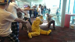 Pudsey and dance troupe Rough Diamond dancing at Broadcasting House.
