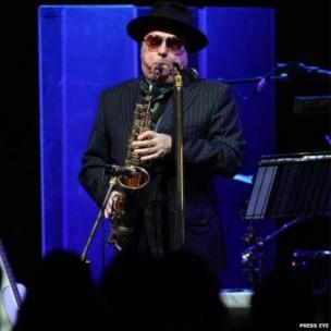 Van Morrison plays the saxophone