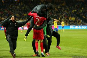 Cristiano Ronaldo of Portugal celebrate with his team mates