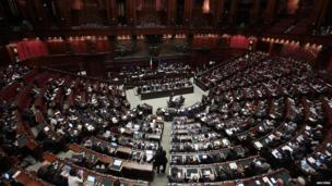 A general view shows the Lower House of Parliament in Rome