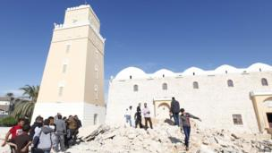 Rubble by the Murad Agha mosque in Tripoli, Libya - Wednesday 27 November 2013