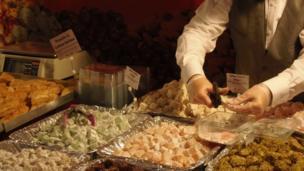 Victorian man serving Turkish Delight