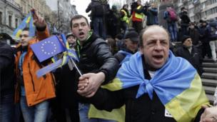 Ukrainian protesters shout as they march to Independence square in Kiev.