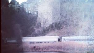 A train crashes in the Bronx area of New York City.