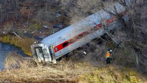 Front carriage of a train that derailed in the Bronx borough of New York