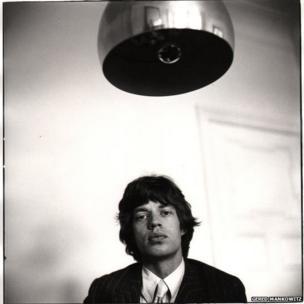 Mick Jagger at new Harley House apartment, Marylebone, 1966