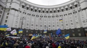 Protesters rally outside the government headquarters building inKiev 02/12/2013
