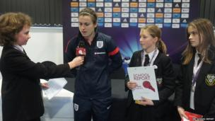 School Reporters interview England and Birmingham winger Karen Carney