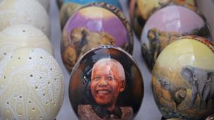 An ostrich egg showing the face of former South African President Nelson Mandela, Cape Town, South Africa - Wednesday 4 December 2013