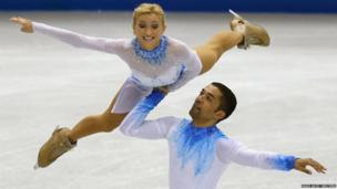 Aliona Savchenko and Robin Szolkowy of Germany during figure skating contest
