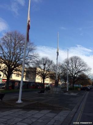 Flags flying half mast. Photo: Chris Penberthy