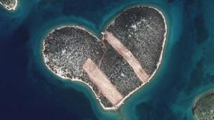 The heart shaped island in Croatia known as Galesnjak.