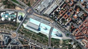 This image shows the Palau de les Arts Reina Sofia and Gulliver Park with an enormous fiberglass model of Lemuel Gulliver trapped in Valencia, Spain