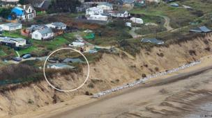 Ariel view of the cliff at Hemsby before the tidal flood