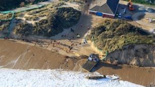 The tidal flood caused the destruction of the lifeboat shed at Hemsby