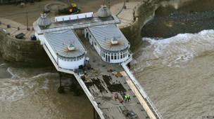 Powerful seas 'blew' floorboards away from Cromer Pier