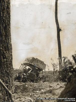 A wrecked B-type bus in St Eloi in France