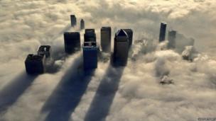 Fog-shrouded Canary Wharf in central London