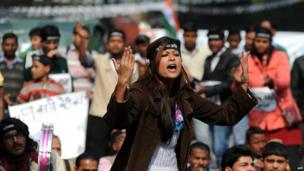 An Indian protestor shouts slogans during a protest against last month's gang rape and murder of a student, in Delhi on 29 January 2013