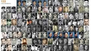 Wall of photographs of men that took part in the Dambusters raid