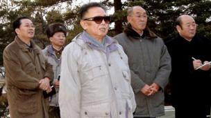 Undated file picture released by KCNA on 2 December 2008 shows then-North Korean leader Kim Jong-il (C) inspecting Pyongyang's central zoo as his brother-in-law Chang Song-thaek (back L) looks on