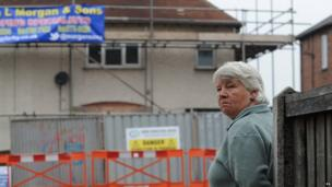 Vera Duffy, Mairead Philpott's mother, waits for the demolition team to arrive