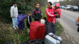 Roma evicted from an illegal camp in Champs-sur-Marne