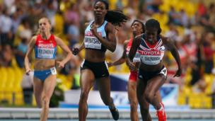 Christine Ohuruogu crossing finish line at World Athletics Championships in Moscow.