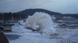 Bernd Kronmueller from Bangor took this photo of Colwyn Bay being battered in the recent storms