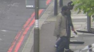 Michael Adebolajo (R) and Michael Adebowale (L) walking away after killing Lee Rigby