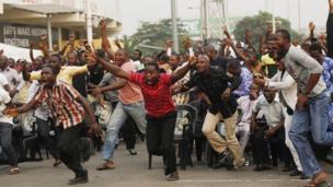 Celebrating Nigerian football fans in Lagos, Nigeria - Sunday 3 February 2013