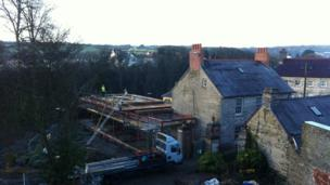A new restaurant at the castle being built