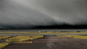 Storm clouds at Oban Airport