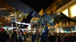 One of the displays is carried along Newcastle's Northumberland street