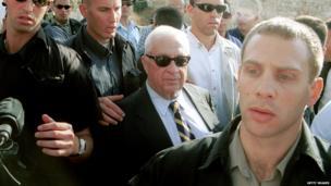 Ariel Sharon visits the Temple Mount/Haram al-Sharif in Jerusalem on 28 September 2000